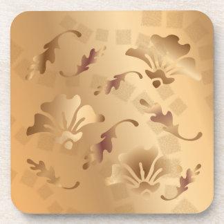 Posavasos Sistema floral beige entonado oro elegante del prá