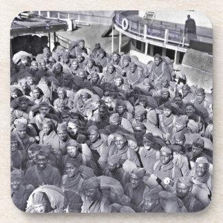 Posavasos Soldados negros de WWI en la nave de transporte