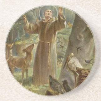 Posavasos St Francis de Assisi rodeó por los animales