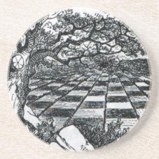 Posavasos Tablero de ajedrez en el país de las maravillas