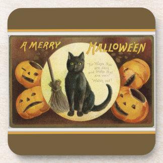 Posavasos Un feliz gato negro y calabazas Brown de Halloween