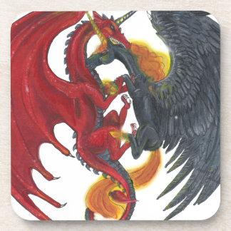 Posavasos Unicornio negro del fuego y dragón rojo
