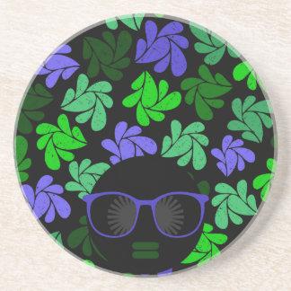 Posavasos Verde y azul de la diva del Afro