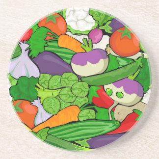 Posavasos Verduras coloridas del dibujo animado