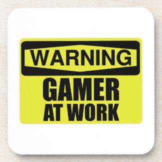 Posavasos Videojugador de la señal de peligro en el trabajo