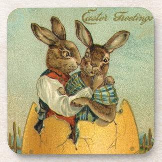 Posavasos Vintage Pascua, conejitos del Victorian en un