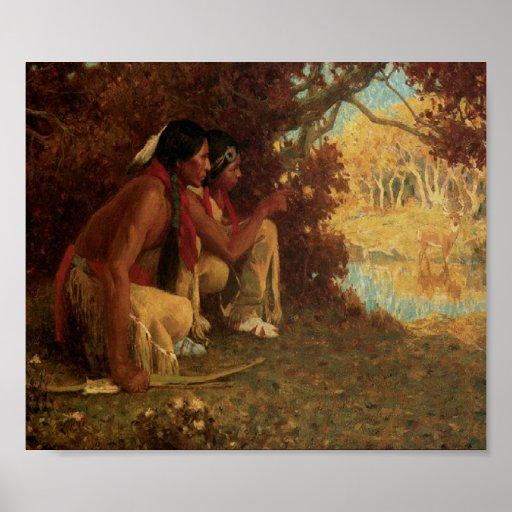 Posición de la impresión del arte de la caza de lo impresiones