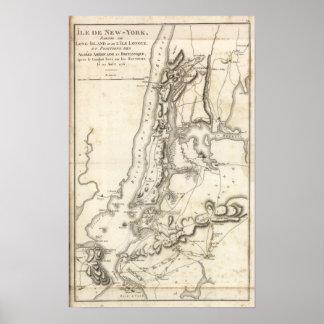 Posiciones de la isla y de Nueva York Posters