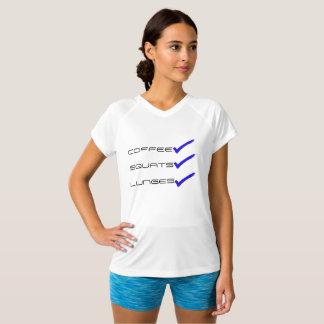 Posiciones en cuclillas y estocadas del café camiseta