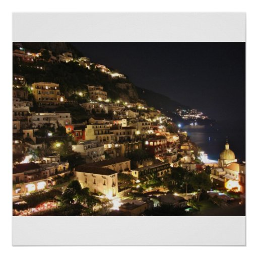 Positano Italia en la noche - impresión fotográfic Posters