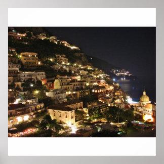 Positano Italia en la noche - impresión Póster