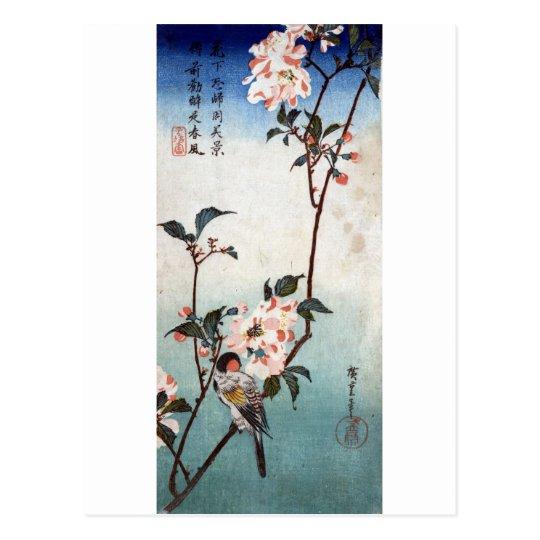 Postal 八重桜に鳥, flor de cerezo y pájaro, Hiroshige, Ukiyoe