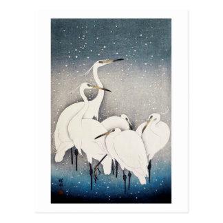 Postal 白鷺の群れ, grupo de Egrets, Ohara Koson, grabar en