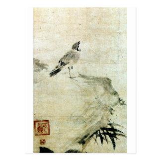 Postal 竹と雀, gorrión y bambú (detalle), Kao del 可翁