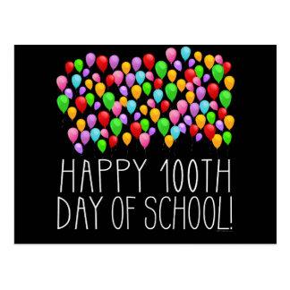 Postal 100o día feliz de profesor de los globos de la