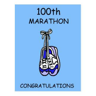 Postal 100o Enhorabuena del maratón, azul