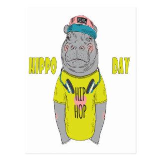 Postal 15 de febrero - día del hipopótamo - día del