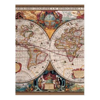 Postal 1600s del siglo XVII originales del latín del mapa