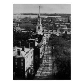 Postal 1859:  Una vista de Boston de la casa del estado
