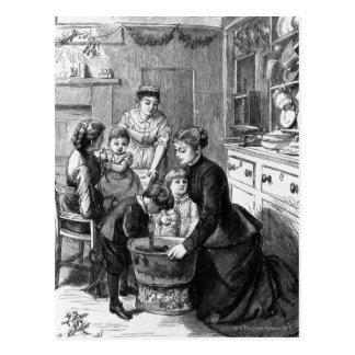 Postal 1876: El pudín del navidad del stir de la ayuda de
