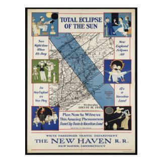 Postal 1932 de la trayectoria del eclipse de Nueva