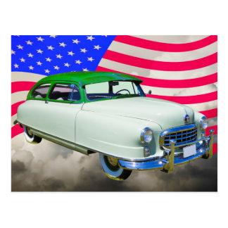 Postal 1950 embajador de Nash Car y bandera americana