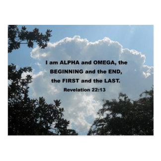 Postal 22:13 de la revelación soy alfa y Omega…