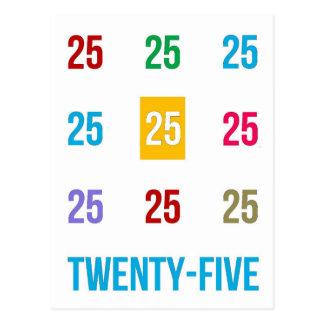 Postal 25tos 25 vigésimos quintos REGALOS del aniversario