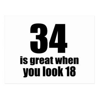 Postal 34 es grande cuando usted mira cumpleaños