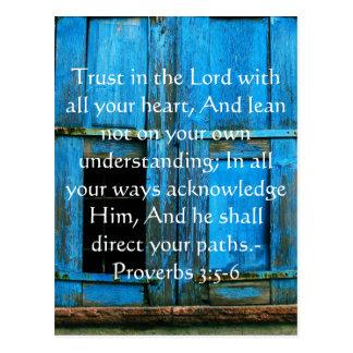 Postal 3:5 inspirado de los proverbios de la cita de la
