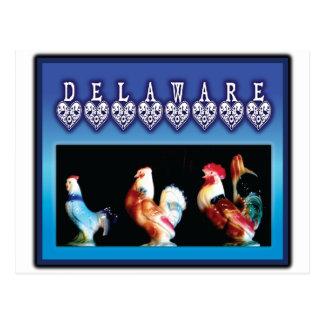 Postal 3 pollos de Delaware