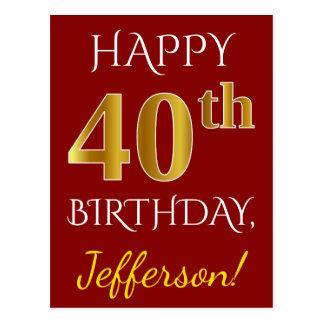 Postal 40.o cumpleaños del oro rojo, falso + Nombre de