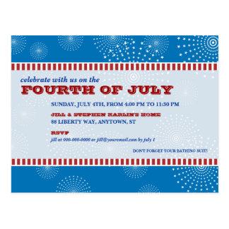 Postal 4 de julio fiesta de la explosión del fiesta