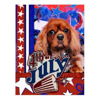 Postal 4 de julio - perro de aguas de rey Charles