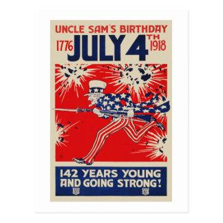 Postal 4 de julio propaganda del cumpleaños WWI del tío