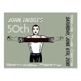 Postal 50.a reserva del cumpleaños del Bodybuilding retro