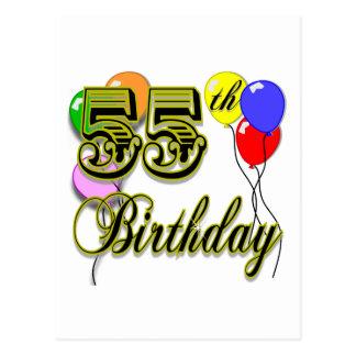 Postal 55.a celebración feliz del cumpleaños