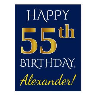 Postal 55.o cumpleaños del oro azul, falso + Nombre de