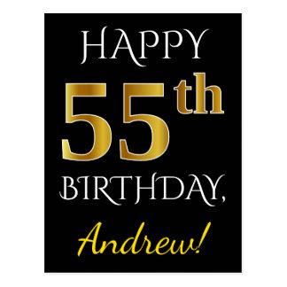 Postal 55.o cumpleaños del oro negro, falso + Nombre de