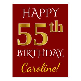 Postal 55.o cumpleaños del oro rojo, falso + Nombre de