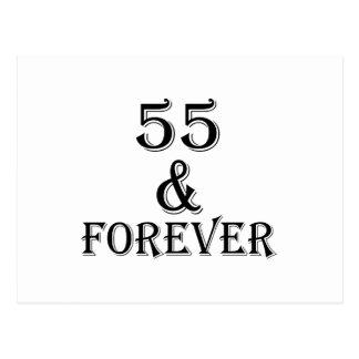 Postal 55 y para siempre diseños del cumpleaños