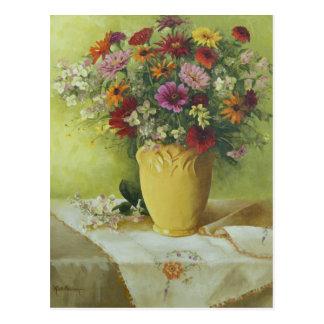 Postal 6021 Zinnias en el florero amarillo de McCoy