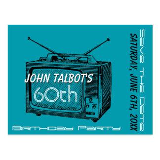 Postal 60.a reserva del cumpleaños del vintage TV la