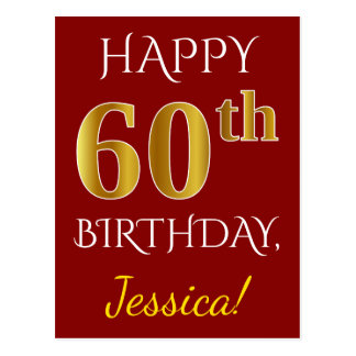 Postal 60.o cumpleaños del oro rojo, falso + Nombre de