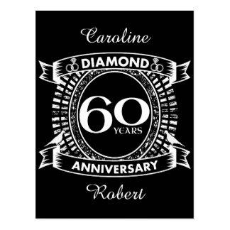 Postal 60.o escudo del diamante del aniversario de boda