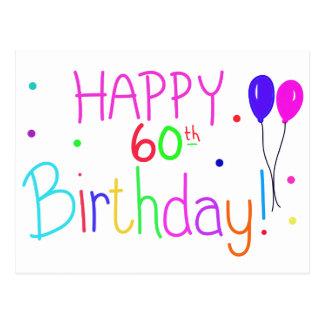 Postal 60.os globos felices del cumpleaños