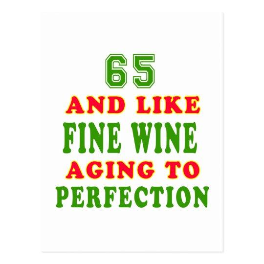 Postal 65 y como diseños del cumpleaños del vino fino