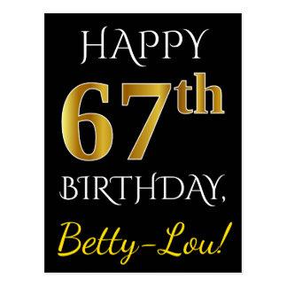 Postal 67.o cumpleaños del oro negro, falso + Nombre de