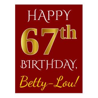 Postal 67.o cumpleaños del oro rojo, falso + Nombre de