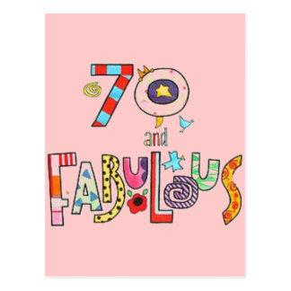 Postal 70 y 70.o cumpleaños feliz fabuloso